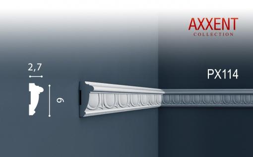 Profilleiste Friesleiste Stuck PX114 AXXENT Wandleiste Zierleiste Profil Wand Rahmen Dekor Element   2 Meter