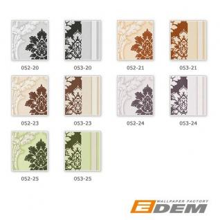 Barock Tapete Streifentapete EDEM 053-21 Damask Relief-Ornamente Flock-Optik braun weiß beige - Vorschau 2