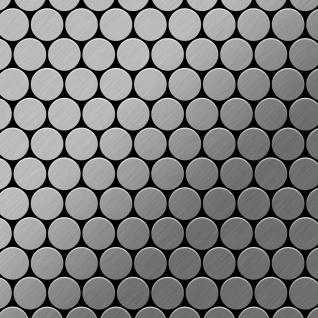 Mosaik Fliese massiv Metall Edelstahl gebürstet in grau 1, 6mm stark ALLOY Dollar-S-S-B 0, 88 m2