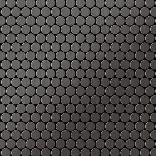 Mosaik Fliese massiv Metall Titan gebürstet in dunkelgrau 1, 6mm stark ALLOY Penny-Ti-SB 0, 92 m2