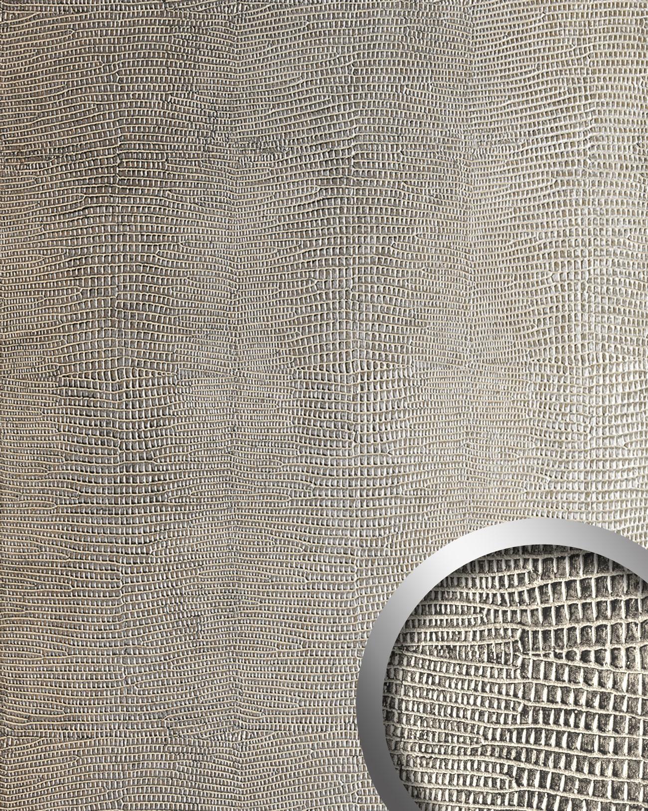 Wandpaneel Leder WallFace 12893 LEGUAN Design Blickfang Deko Selbstklebende  Tapete Wandverkleidung Silber Grau | 2 ...