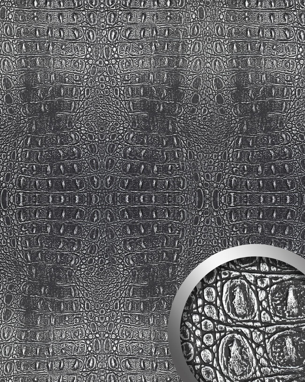 Wandpaneel 3D WallFace 13521 CROCO Design Platte Struktur Blickfang Dekor  Selbstklebende Tapete Schwarz Silber | 2 ...