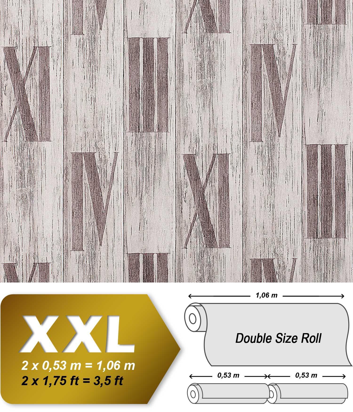 Holz Tapete Vliestapete EDEM 945 24 Geprägte Tapete Holzoptik Dielen  Römische Zahlen Deko Eiche Weiß ...