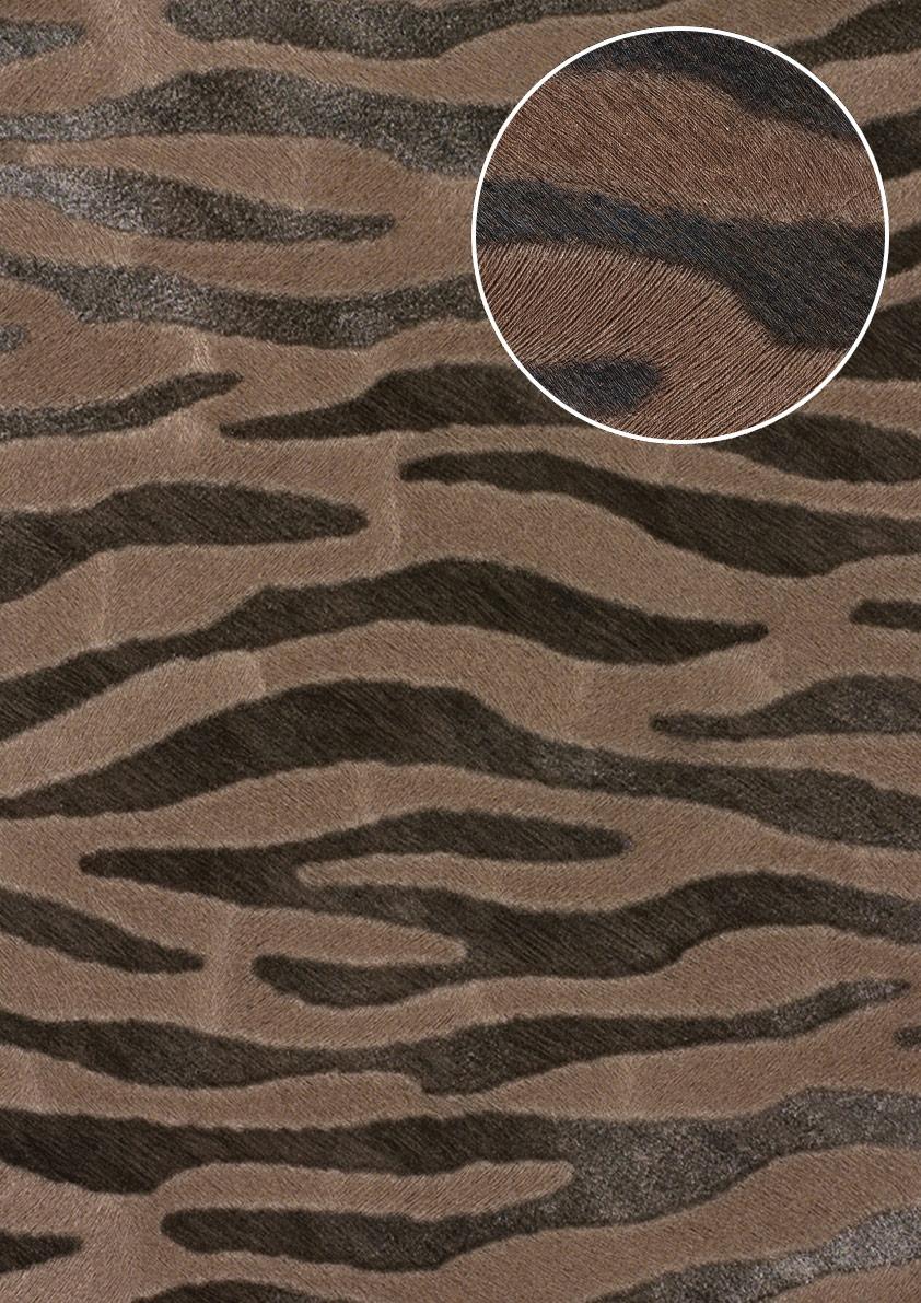 Tiermotiv Tapete Atlas SKI 5069 3 Vliestapete Geprägt Mit Zebramuster  Schimmernd Braun Blass  ...