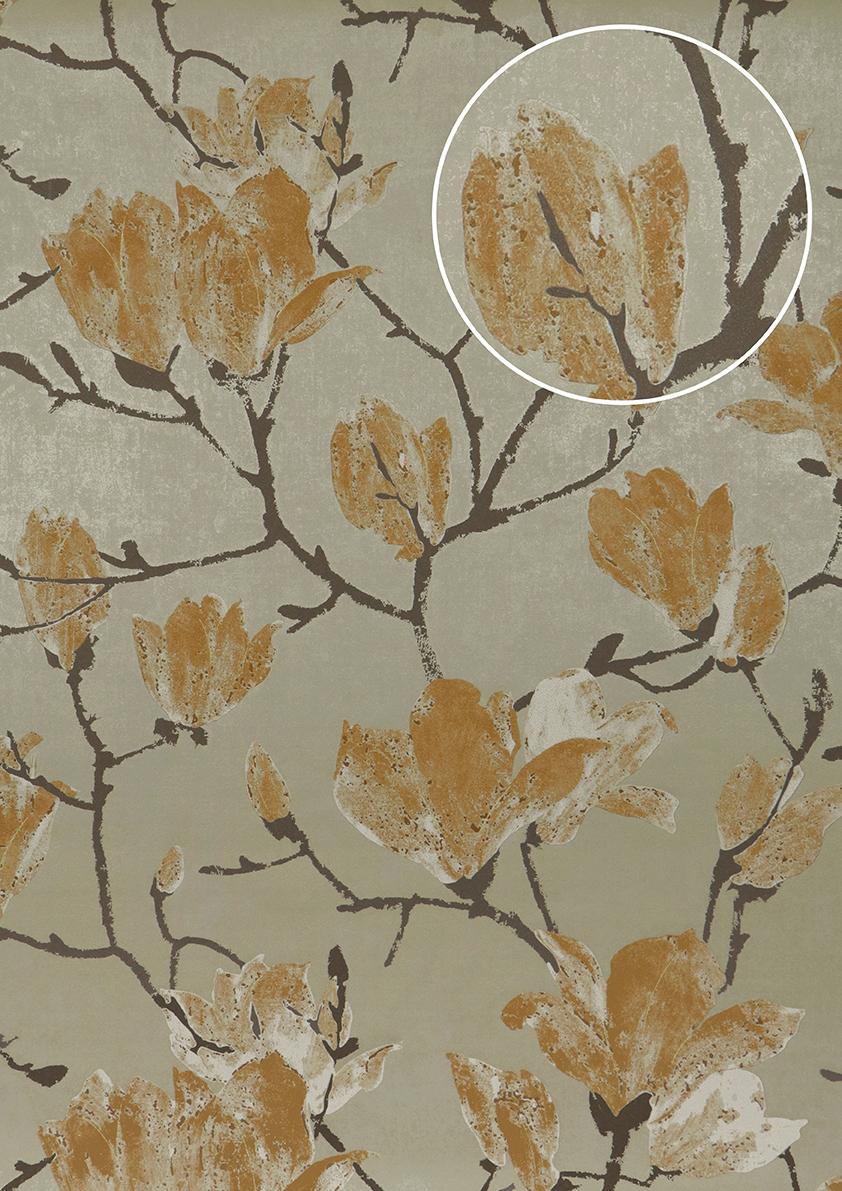 blumen tapete atlas tem 5110 4 hochwertigevliestapete strukturiert mit grafischem muster schimmernd grau grau - Tapete Muster Grau