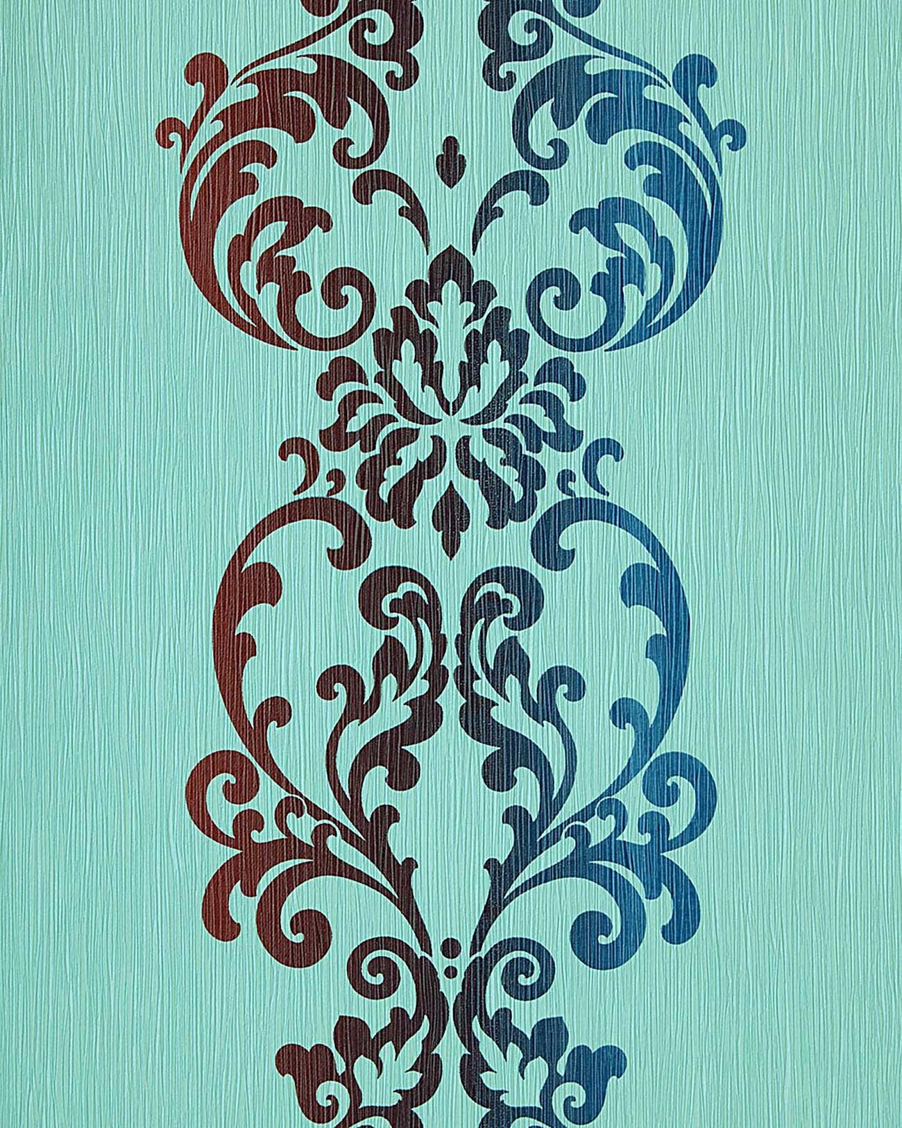 Barock Tapete Edem 178 26 Tapete Modern Art Ornamente Hell Turkis Blau Braun Perlmutt Kaufen Bei E Delux Gmbh