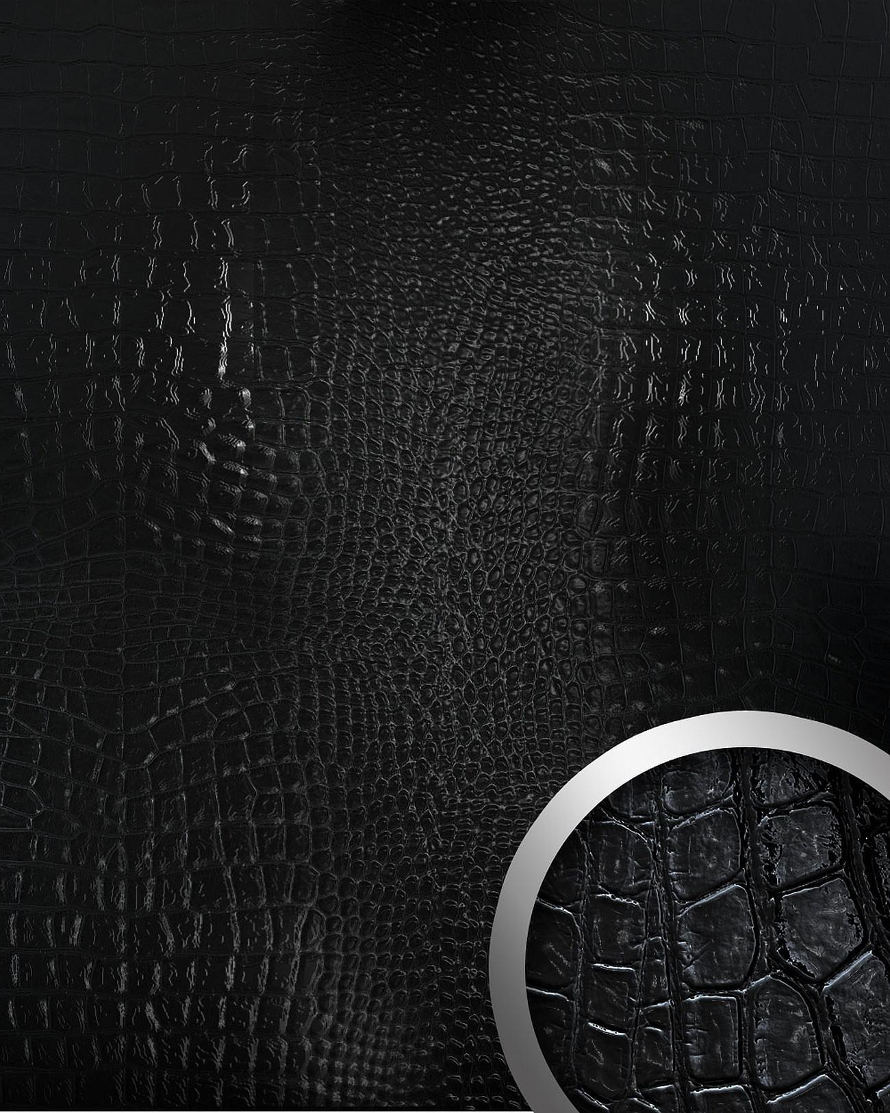 Wandpaneel Platte 3D Wandverkleidung WallFace 13826 CROCONOVA Design  Blickfang Dekor Selbstklebende Tapete Schwarz | 2, ...
