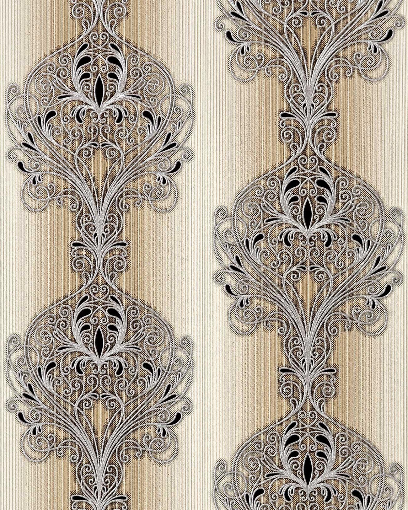 3D Barock Tapete EDEM 096 23 Tapete Damask Prunkvolle Ornament Designs Braun  Hellbraun Beige ...