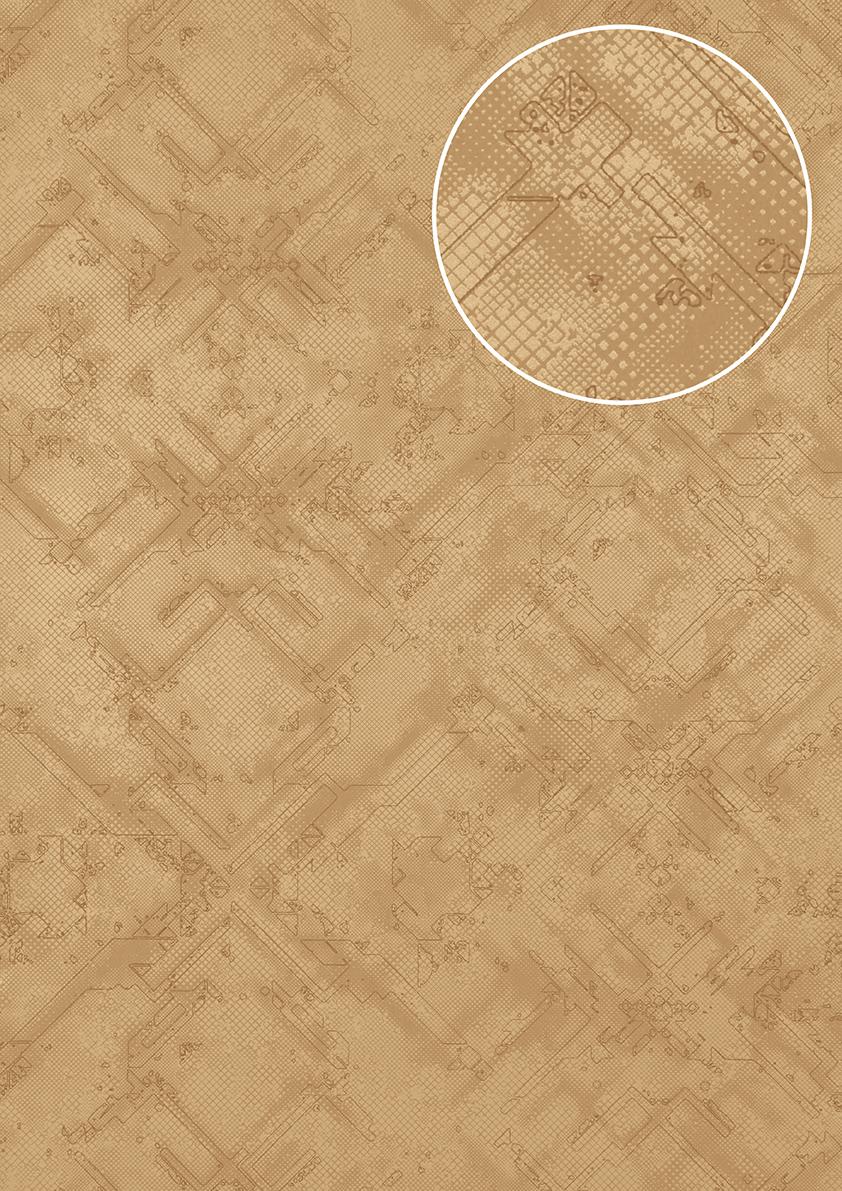 Grafik Tapete Atlas SIG 581 1 Vliestapete Strukturiert Mit Abstraktem  Muster Schimmernd Beige Braun ...