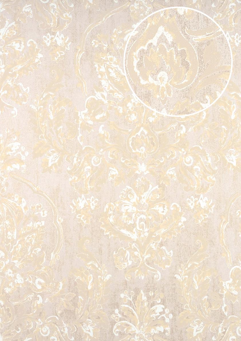 Barock Tapete ATLAS CLA-602-6 Vliestapete geprägt mit floralen ...