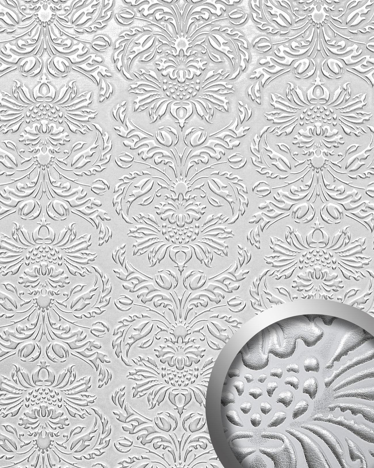 Wandpaneel Luxus D Wallface  Imperial Dekor Barock Damask Ornament Leder Selbstklebend Tapete Weis Silber