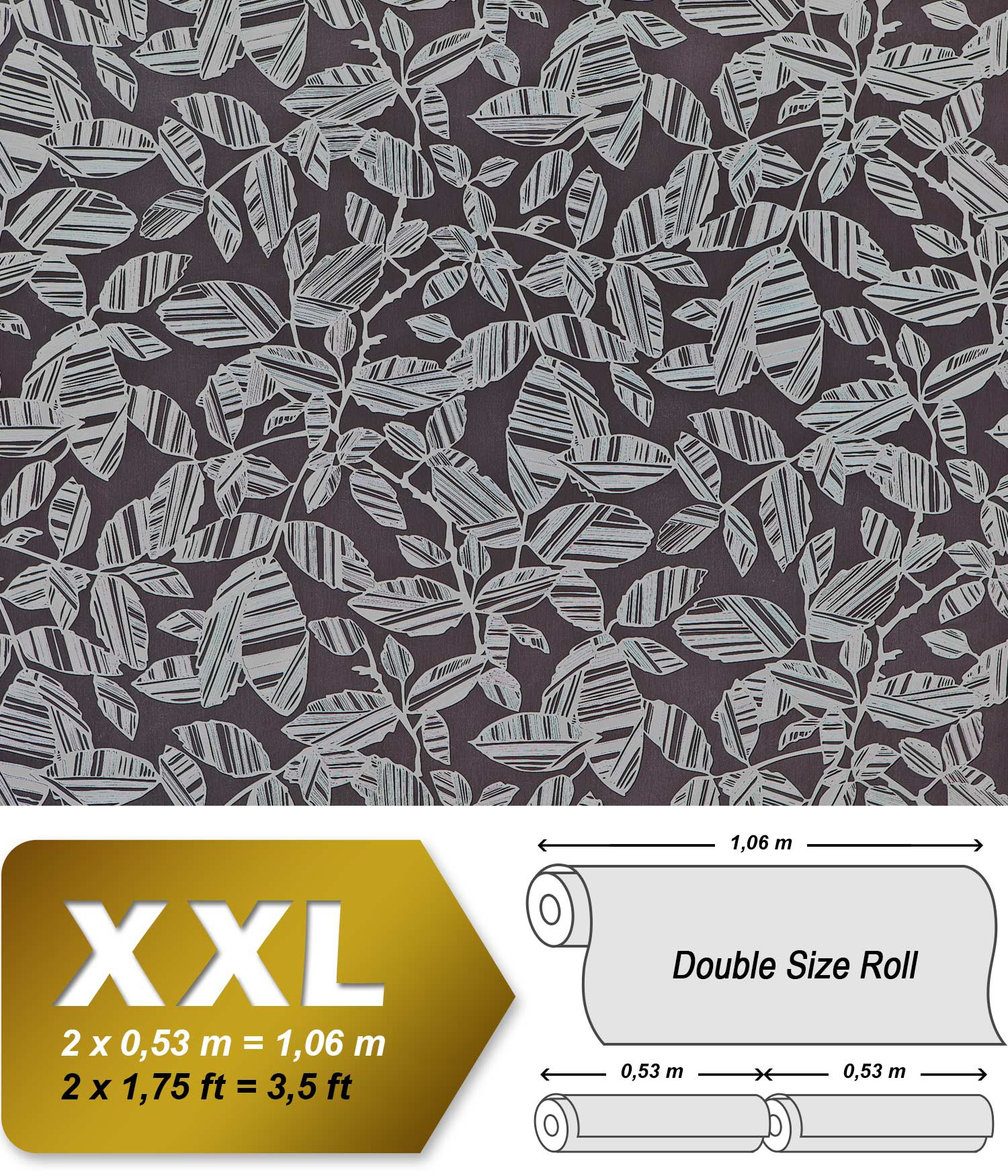 blumen tapete xxl vliestapete edem 923 39 elegantes florales design muster metallic effekt grau schwarz - Vliestapete Muster