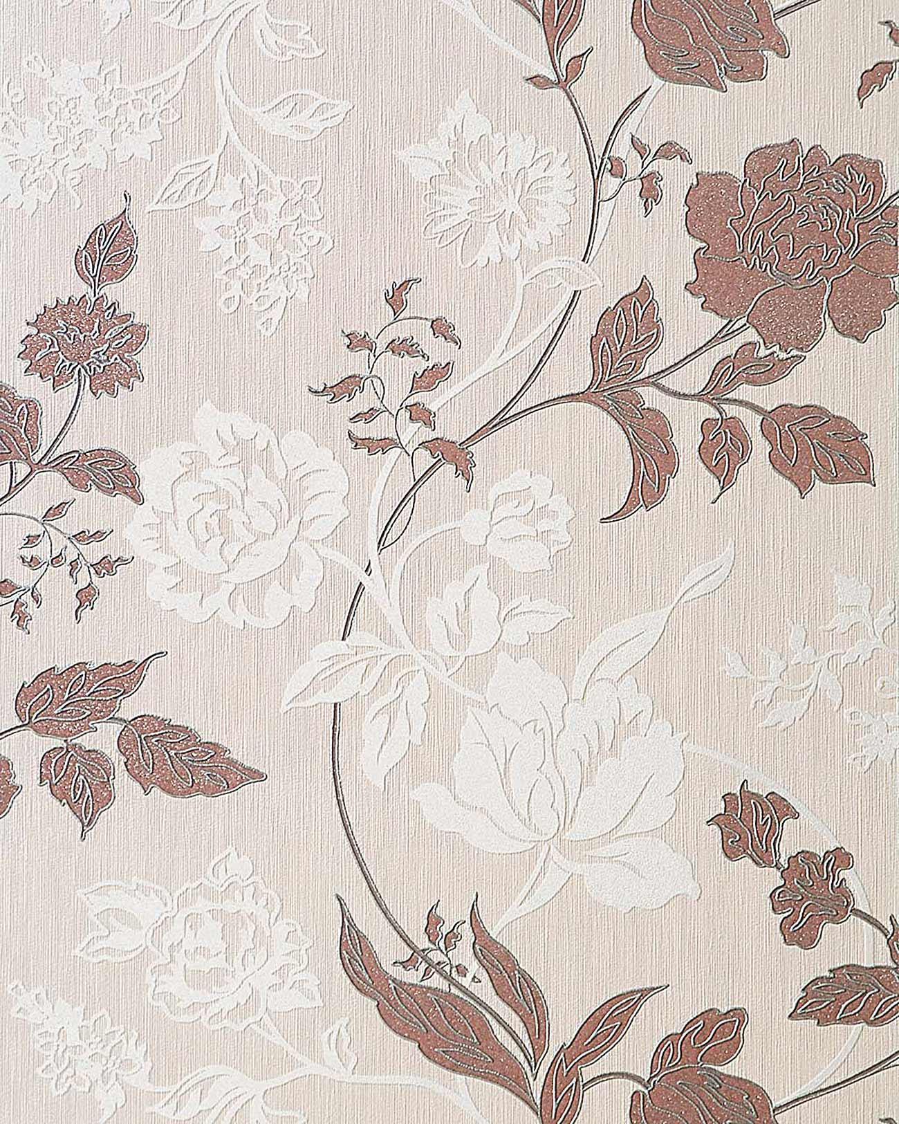 3D Blumentapete Landhaustapete EDEM 116 23 Design Floral Blumen Tapete  Beige Creme Weiß Kakao  ...