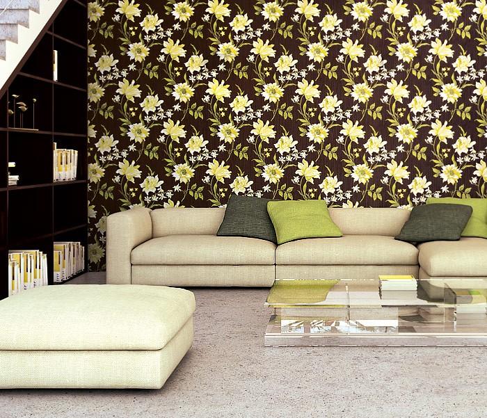 ... Blumen Tapete Vliestapete Landhaus Tapete EDEM 900 16 Designer  Hochwertige Textiloptik Braun Gelbgrün Weiß Oliv ...