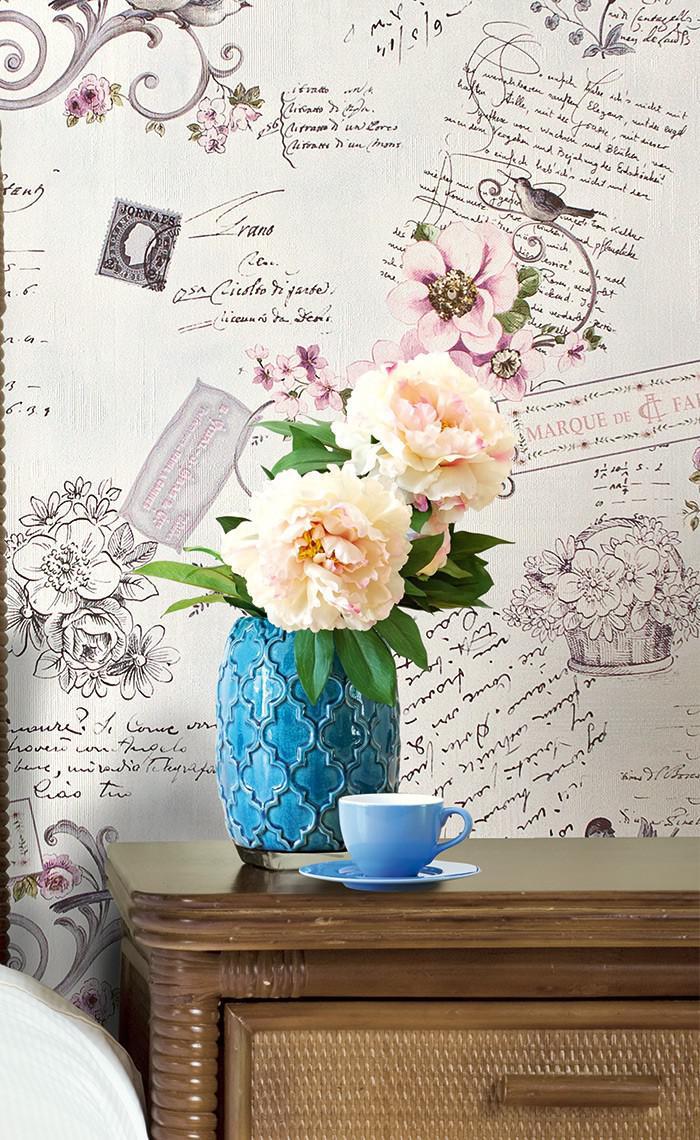 ... Landhaus Tapete Vliestapete XXL EDEM 904 15 Romantische Mustertapete  Blumen Vögel Rosa Altrosa Grün Braun ...