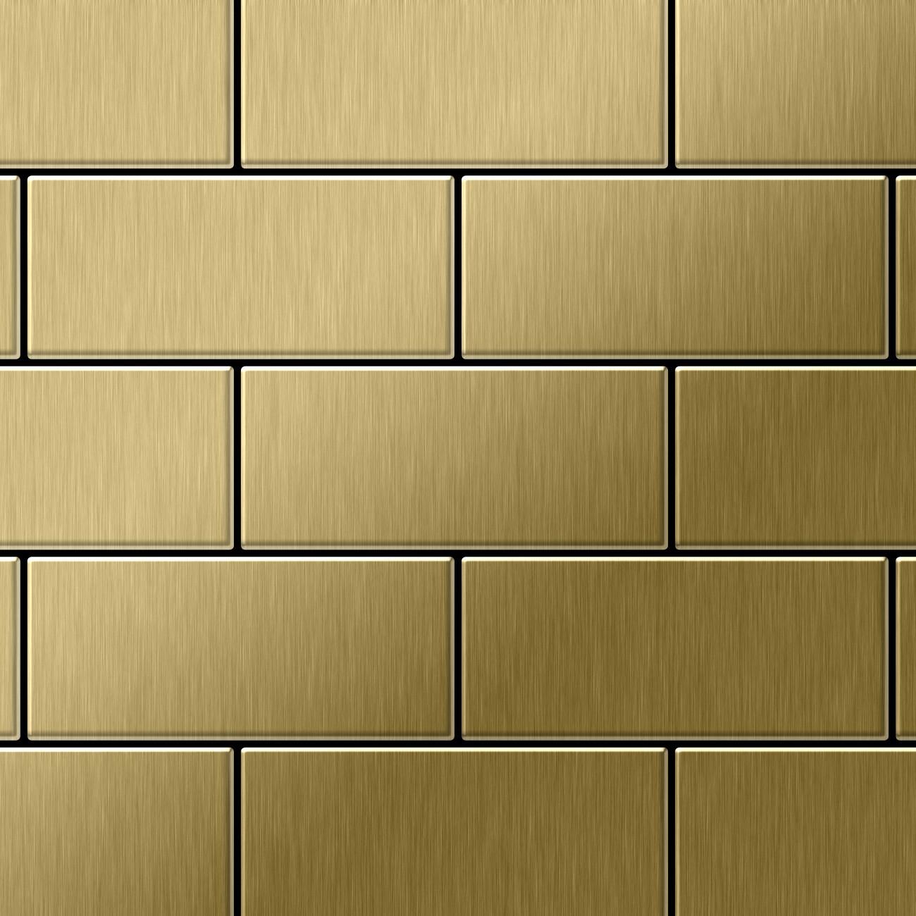 Mosaik Fliese Massiv Metall Titan Geburstet In Gold 1 6mm Stark