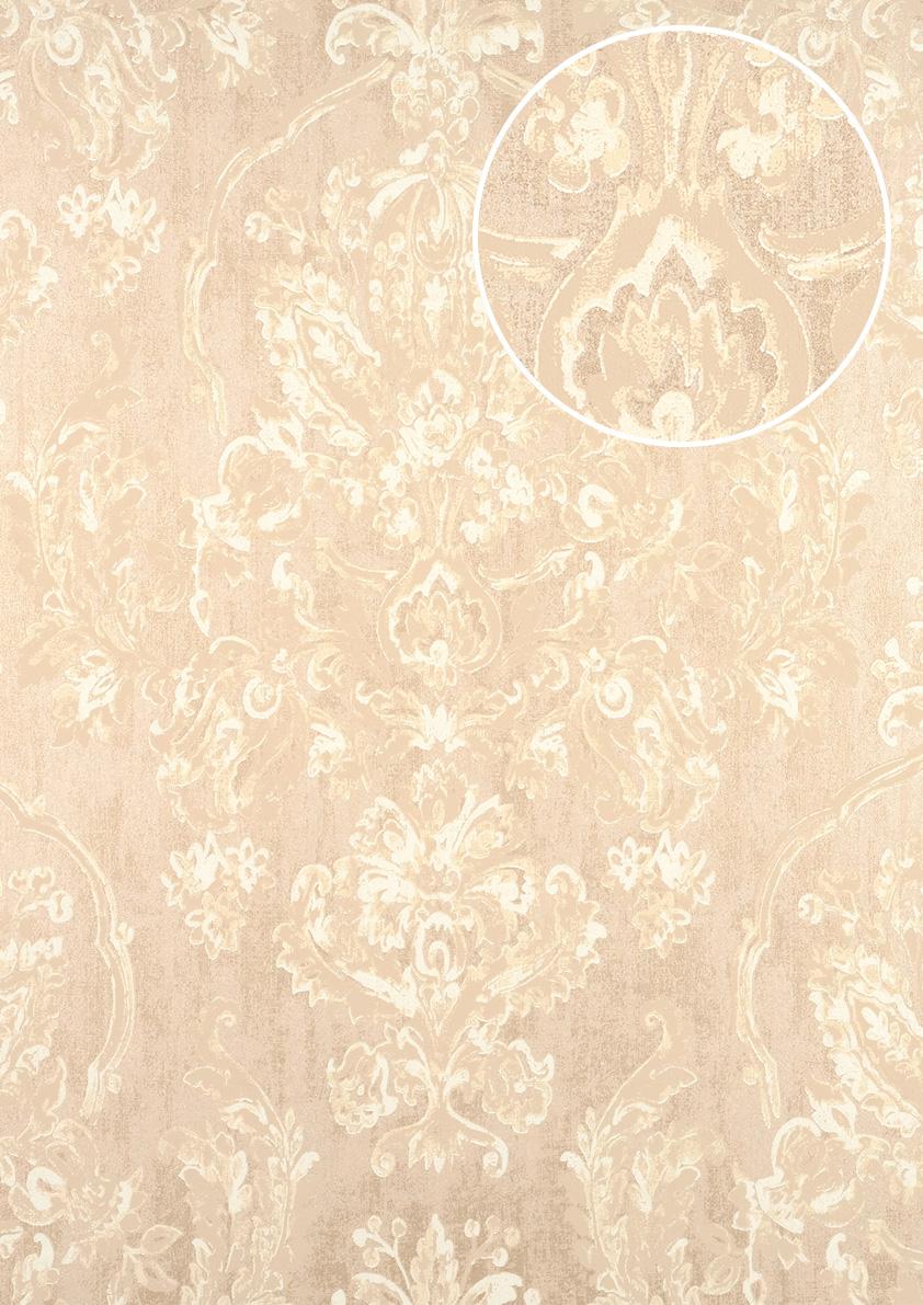 Barock Tapete Atlas Cla   Vliestapete Gepragt Mit Floralen Ornamenten Glanzend Creme Perl