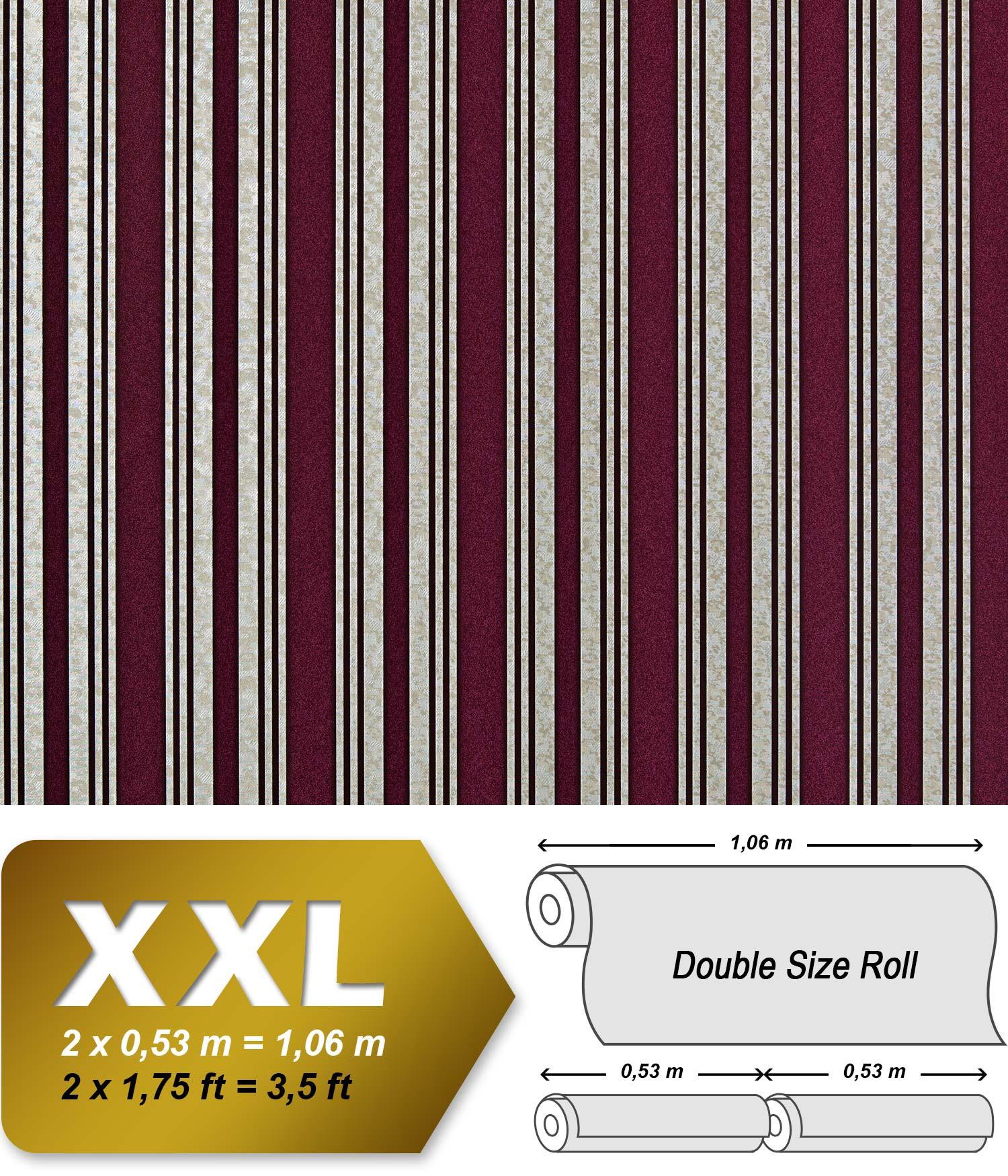 Streifen Tapete XXL Luxus Vliestapete EDEM 999 35 Hochwertiger Metallic  Effekt Aubergine Bordeaux Rot Silber ...