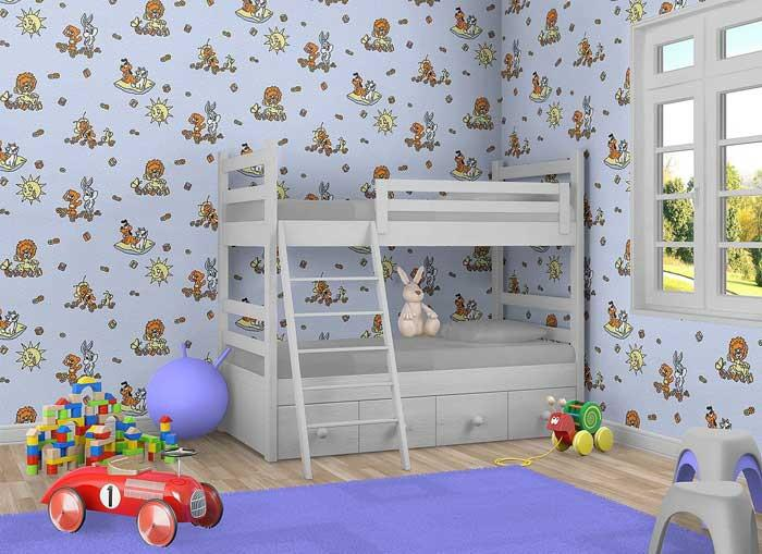 kindertapete edem 007 22 f r jungs kinder zimmer tapete vinyl mit motiven l we hase biene sonne. Black Bedroom Furniture Sets. Home Design Ideas