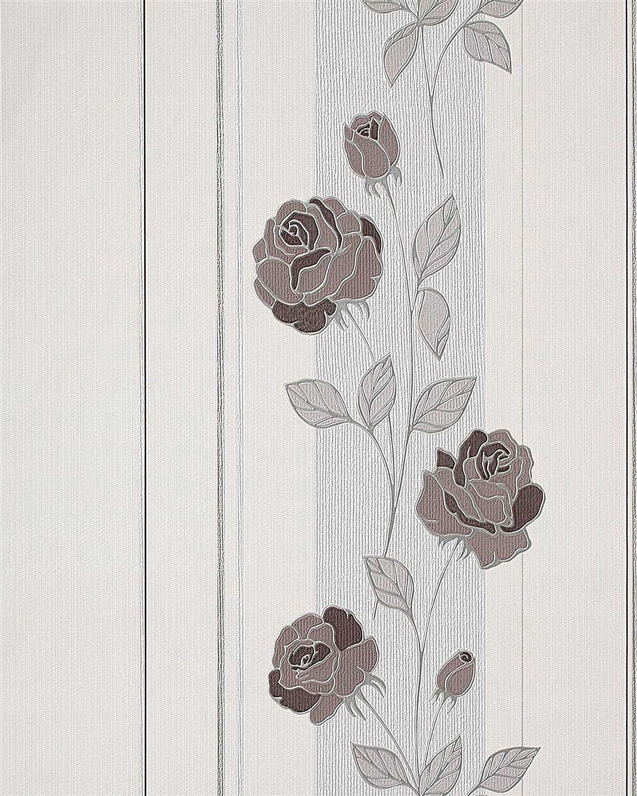 Hervorragend Blumen Tapete Landhaus EDEM 766 30 Deluxe Floral Streifen Blumentapete  Rosen Creme Schoko Braun ...