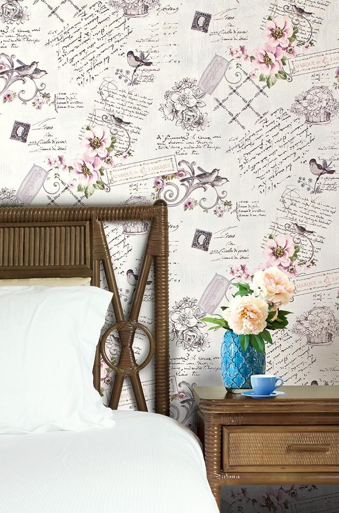 ... Landhaus Tapete Vliestapete XXL EDEM 904 18 Romantische Mustertapete  Blumen Vögel Grün Braun 10, ...