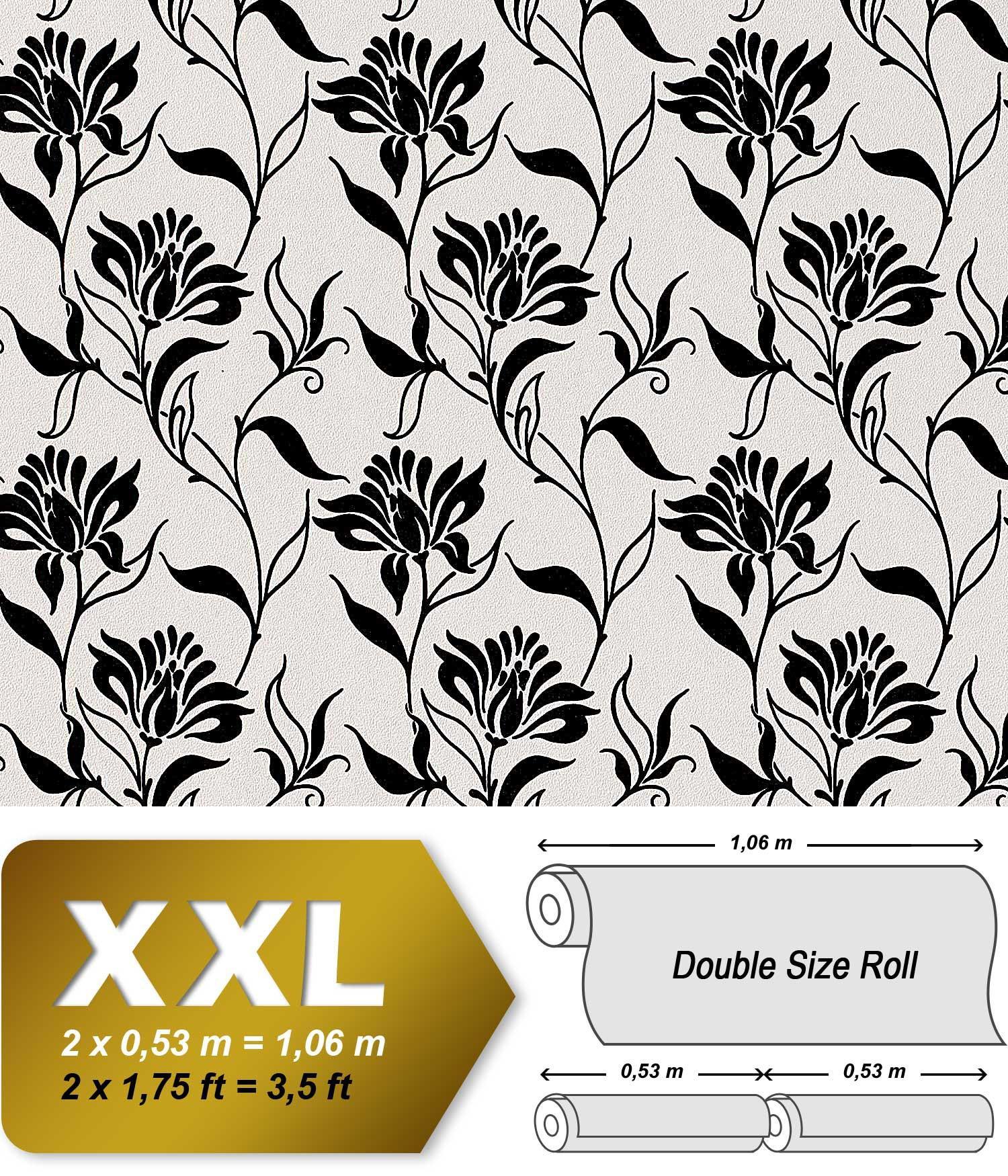 blumen tapete vliestapete edem 939 30 hei gepr gete designer tapete florales muster schwarz wei. Black Bedroom Furniture Sets. Home Design Ideas