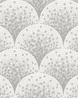 Stein Kacheln Tapete Profhome BA220044-DI heißgeprägte Vliestapete geprägt mit Mosaik Muster glänzend grau weiß achat-grau 5, 33 m2