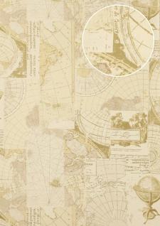 Grafik Tapete Atlas SIG-586-3 Vliestapete glatt im maritimen Design schimmernd elfenbein perl-weiß grau-beige gold 5, 33 m2