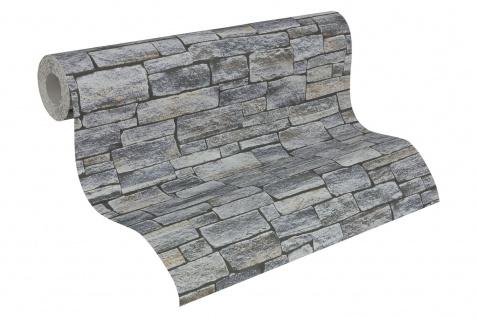 Stein Kacheln Tapete Profhome 958711-GU Vliestapete glatt in Steinoptik matt grau schwarz 5, 33 m2 - Vorschau 2