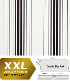 Streifen Vliestapete EDEM 973-30 XXL Designer Tapete gestreifte Objekttapete schwarz weiß | 10, 65 qm