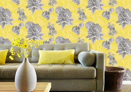 Blumen Tapete Atlas TEM-5109-7 Vliestapete strukturiert mit Paisley Muster schimmernd gelb dunkel-grau grau-weiß platin 7, 035 m2 - Vorschau 3