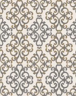 Barock Tapete EDEM 85037BR33 Tapete strukturiert mit Ornamenten glänzend creme hell-elfenbein platin-grau gold-gelb 5, 33 m2