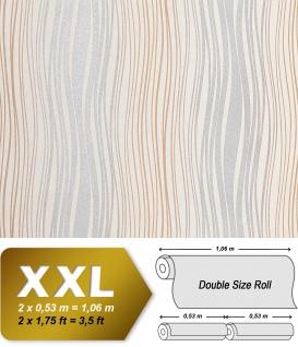 Streifen Tapete Vliestapete EDEM 695-91 Design Tapete geschwungene Linien Glitzereffekt creme silber-grau braun 10, 65 qm