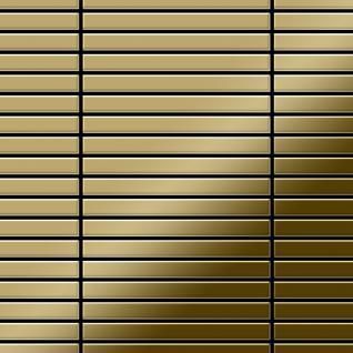 Mosaik Fliese massiv Metall Titan hochglänzend in gold 1, 6mm stark ALLOY Linear-Ti-GM 0, 94 m2