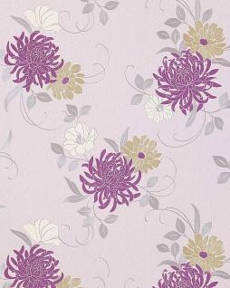 Blumen Tapete EDEM 824-25 hochwertige geprägte floral Blumentapete hell-elfenbein lila grün-beige grau weiß 70 cm