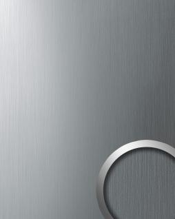 Wandverkleidung Wandpaneel WallFace 10298 DECO EyeCatch Metall Wand Dekor selbstklebende Tapete silber gebürstet | 2, 60 qm