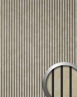 Wandpaneel selbstklebend in Metall-Optik WallFace 18583 PIANO Iron Age Vintage Look Längsstreifen schwarze Fugen platin | 2, 60 qm