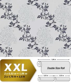 Blumen Tapete Vliestapete EDEM 946-27 Luxus Tapete Blätter-Muster Klassisches Barock-Blumen grau blau silber 10, 65 qm