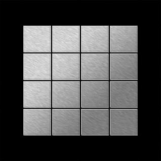 Mosaik Fliese massiv Metall Edelstahl gebürstet in grau 1, 6mm stark ALLOY Cinquanta-S-S-B 0, 94 m2 - Vorschau 3