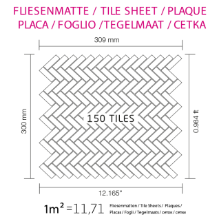 Mosaik Fliese massiv Metall Edelstahl matt in grau 1, 6mm stark ALLOY Herringbone-S-S-MA 0, 85 m2 - Vorschau 5