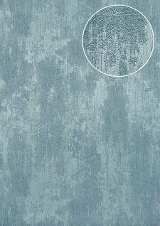 Uni Tapete Atlas TEM-5112-8 Vliestapete strukturiert in Spachteloptik und Metallic Effekt blau silber azur-blau pastell-blau 7, 035 m2