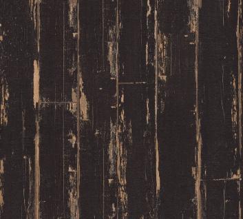 Holz Tapete Profhome 368562-GU Vliestapete leicht strukturiert in Holzoptik matt schwarz braun 5, 33 m2