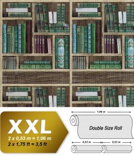 Bücher Tapete EDEM 81155BR28 heißgeprägte Vliestapete Bibliothek Bücherregal matt braun smaragd-grün wein-rot grau-blau 10, 65 m2