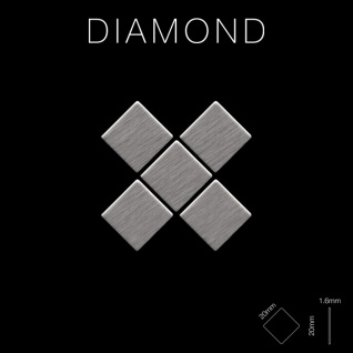 Mosaik Fliese massiv Metall Edelstahl gebürstet in grau 1, 6mm stark ALLOY Diamond-S-S-B 0, 91 m2 - Vorschau 2