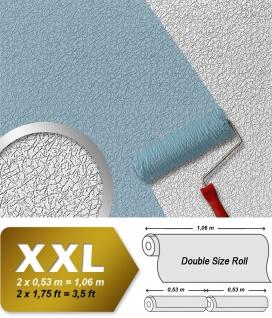 Vliestapete zum Überstreichen EDEM 80306BR70 XXL form-stabile dicke Tapete crash-putz-optik streichbar weiss 26, 50 qm