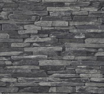 Stein Kacheln Tapete Profhome 914224-GU Vliestapete glatt in Steinoptik matt grau schwarz 5, 33 m2