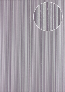 Streifen Tapete Atlas PRI-5047-3 Vliestapete glatt Design glitzernd violett silber pastell-violett platin-grau 5, 33 m2