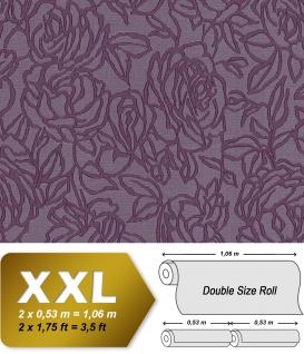 Blumen Tapete EDEM 9040-29 heißgeprägte Vliestapete geprägt mit floralem Muster glänzend violett rot-lila 10, 65 m2