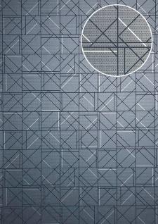 Grafik Tapete ATLAS XPL-591-5 Vliestapete strukturiert mit geometrischen Formen glänzend blau blau-grau grau-blau silber 5, 33 m2