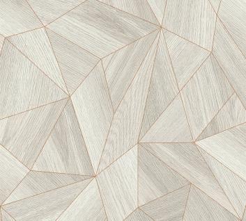 Grafik Tapete Profhome 361332-GU Vliestapete glatt mit grafischem Muster matt grau gold 5, 33 m2